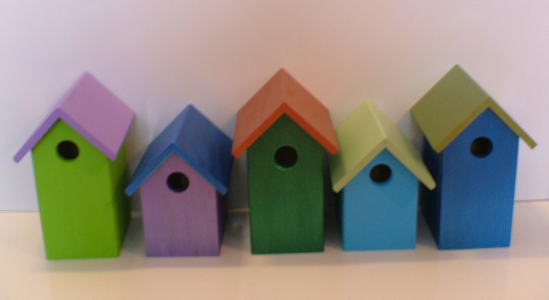 Colorful Painted Bird Houses